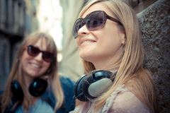 Two beautiful blonde women Stock Photos