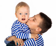 Two beautiful boys  isolated Royalty Free Stock Photography