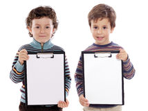 Two beautiful boys student with notepad Royalty Free Stock Photos