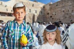 Two beautiful boys in yarmulks Royalty Free Stock Image
