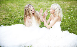 Two beautiful bride in the garden Royalty Free Stock Photos