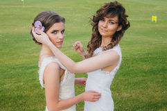 Two beautiful brides correcting hair on the green field stock photos