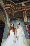 Two beautiful brides standing in the old castle Royalty Free Stock Photo