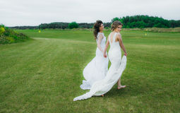 Two beautiful brides walking on the green field stock photos