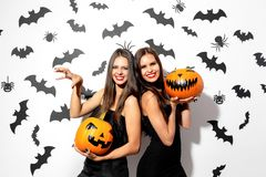 Two beautiful brunette women in black dresses have fun with jack-o-lanterns on a white background with bats and spiders.  royalty free stock images