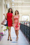 Two beautiful brunette women in sexy dress Stock Images