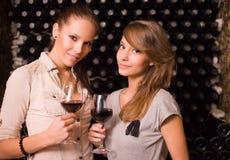 Two beautiful brunettes tasting wine. Stock Photos