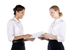 Two beautiful business women having discussion Stock Photography