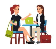 Two beautiful business women sitting royalty free illustration