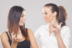Two beautiful business women on studio background Stock Images