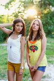 Two beautiful caucasian girls Stock Photos
