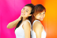 Two Beautiful chinese asian girls as best friends Royalty Free Stock Photography