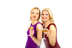 Two beautiful christmas woman drinking champagne Royalty Free Stock Photo