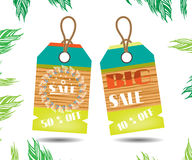 Two beautiful, colorful stickers with wooden. Summer stickers with text Sale on white background Royalty Free Stock Photo