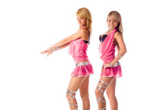 Two beautiful dancer girl in pink costumes Royalty Free Stock Image