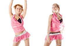 Two beautiful dancer girl in pink isolated Stock Images