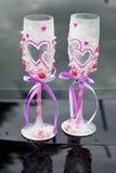 Two beautiful decorated wedding glasses Stock Photo