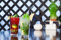 Two beautiful delicious cocktails Stock Images