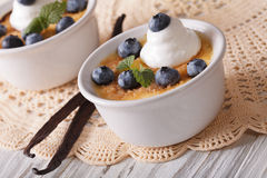 Two beautiful dessert cream brulee with blueberries. horizontal Royalty Free Stock Photo