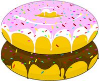 Two beautiful donuts with icing and chocolate sprinkled with sweets, lying one on the other, on an isolated background. vector illustration
