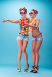 Two beautiful emotional girls in pinup style Stock Photo
