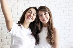 Portrait of two millennial females, fooling around in front of mobile smartphone camera. Brown eyed model girls with long brunette. Two beautiful excited young Stock Photo