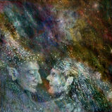 Two beautiful fairies couple on abstract space background Stock Photography