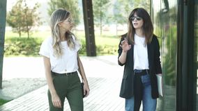 Two beautiful fashion bloggers walking and discussing trends in summer. Two attractive fashion bloggers, blonde and brown haired, in sunglasses and smart casual stock footage