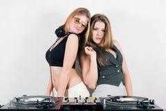 Two beautiful female djs stock image