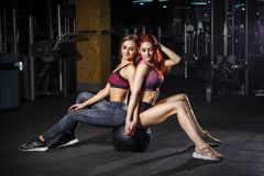 Two beautiful fitness sporty young girls sitting on the gymnastic ball in gym stock photos