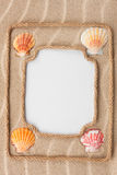 Two beautiful frame made of rope and sea shells with a white bac Royalty Free Stock Image