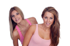 Two beautiful friends in pink Stock Photos