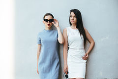 Two beautiful friends pose on white background Royalty Free Stock Image