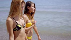 Two beautiful friends walk together by lake. Two beautiful friends wearing two piece swim suits walk together by a lake on a bright summer day stock video