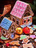 Two beautiful gingerbread house. Stock Photography