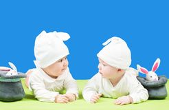 Two beautiful girl child in Bunny Costume Stock Image