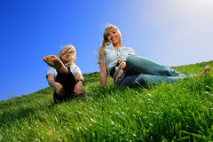 Two beautiful girl on the hill Royalty Free Stock Photos