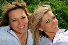 Two beautiful girl on the hill Royalty Free Stock Photo