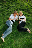 Two beautiful girl on the hill Royalty Free Stock Images