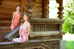 Two beautiful girl near wooden wall Royalty Free Stock Photos