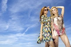 Two beautiful girl in sunglasses Stock Photos