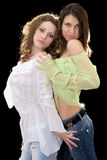 Two beautiful girlfriends royalty free stock photography