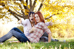 Two beautiful girlfriends at the autumn park Royalty Free Stock Photography