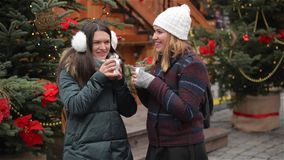 Two Beautiful Girlfriends Talking and Laughing on the Christmas Market. Friends Drinking Hot Drink and Having Fun on the. Xmas Fair, Merry Christmas and Happy stock video footage