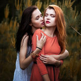 Two beautiful girls in the background of spruce fo. The love of two young girls Royalty Free Stock Photos