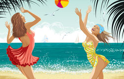 Two beautiful girls at a beach Stock Photography