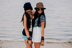 Two beautiful girls. On the beach Royalty Free Stock Images