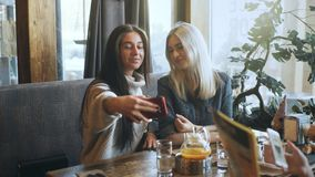 Two beautiful girls are doing selfie in a cafe and smiling. Two beautiful girls blonde abd brunette are doing selfie in a cafe and smiling,Two girls having lunch stock footage