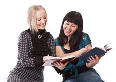 Two beautiful girls with books Royalty Free Stock Images