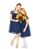 Two beautiful girls with a bouquet of flowers. Two charming little girls in a blue dresses with a bouquet of flowers Stock Image